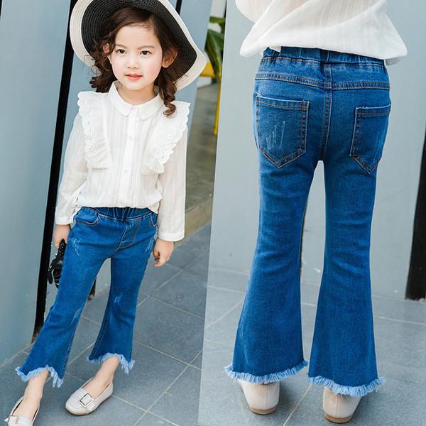 Nova Moda Meninas Calças De Brim Crianças Azuis Jeans Sino-bottoms Borlas Desgastadas Jeans Bonito Top Quality Roupa Dos Miúdos
