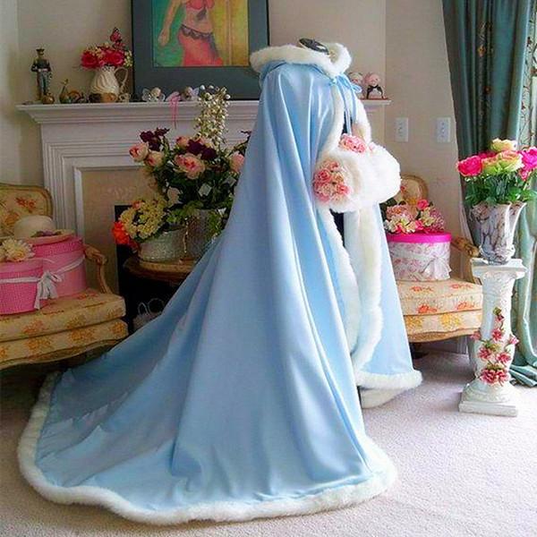 2017 NEW Warm Bridal Cape Wraps Custom Made Winter Wedding Cloak Cape Hooded with Fur Trim Long Bridal Wraps Winter Jacket Coat for Bride