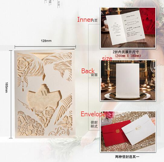 Gentleman Lady Kisses Wedding Laser Cut Ivory Invitations Cards Hollow Personalized Engagement Invitation Card With Envelope Free Wedding Invitation