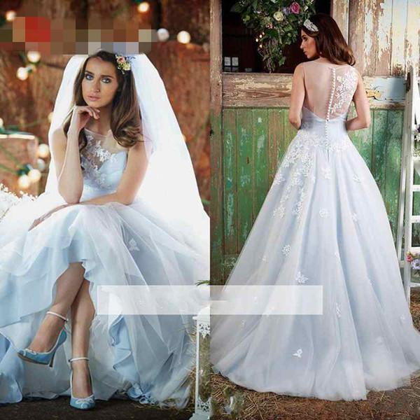 2017 Ice Blue Romantic Wedding Dress Sheer Jewel Neck Vintage Lace Vestido De Novia A Line Princess Bridal Gowns with Appliques