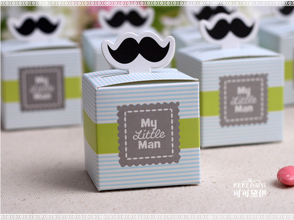 500pcs/lot My little Man Cute Mustache Baby Shower Favors Baby Shower Decoration Birthday Souvenirs Birthday Gift Box
