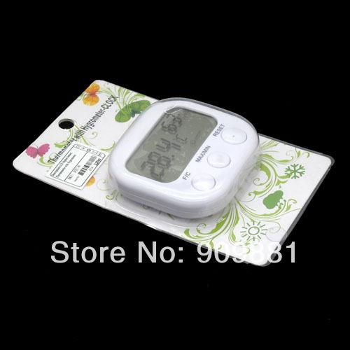 Mini White Indoor Digital Thermometer With Hygrometer And Clock Temperature Sensor With Package 10pcs/lot Free shipping