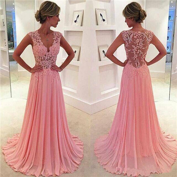 top popular Vintage Sweety Blush Pink A Line Chiffon Evening Prom Dresses Lace Appliques Plunging V neck Sexy Sheer Cap Sleeves Girls Party Formal Dress 2020