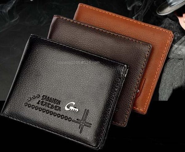 New Top quality 2017 Male Genuine Leather luxury wallet Casual Short designer Card holder pocket Fashion Purse wallets for men