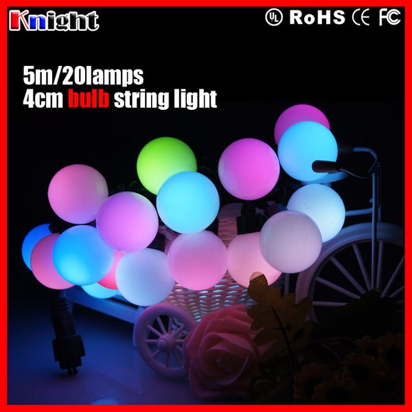 40mm bulb balls string light,5m 20bulbs LED string light black wire,4cm bulb rainbow light waterproof,colorfull wedding decoration lighting