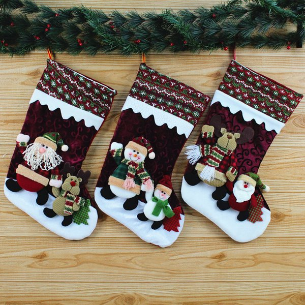 Christmas Socks Gift Bags Santa Claus Gift Bags High -End Stereo Christmas Gift Bag Decoration Christmas Stockings