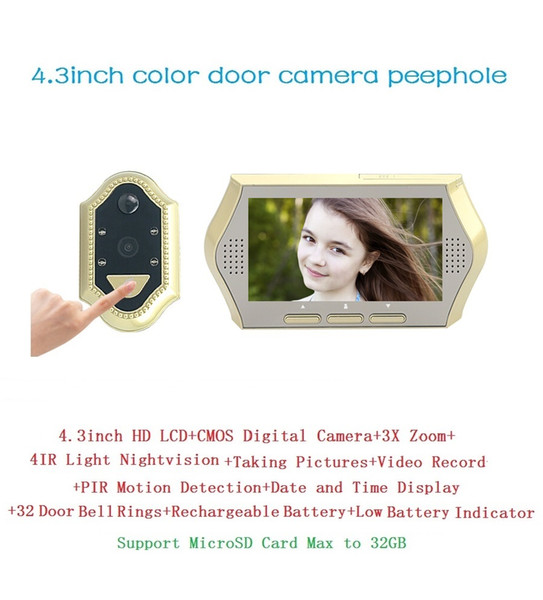 New wireless video door peephole 4.3inch LCD 0.3Megapixels camera IR Night vision 3X Zoom 32 Rings PIR motion detection Max 32G