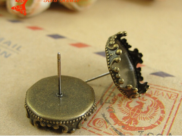 A3170 Fit 15MM Copper Crown stud Earrings blank setting base tray bezel Vintage Jewelry findings accessories components wholesale bulk