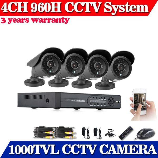Casa Vigilância CCTV 4CH segurança DVR Kit Completa 960H HD 1000TVL câmera do monitor do telefone móvel, sistema de câmera de vigilância por vídeo