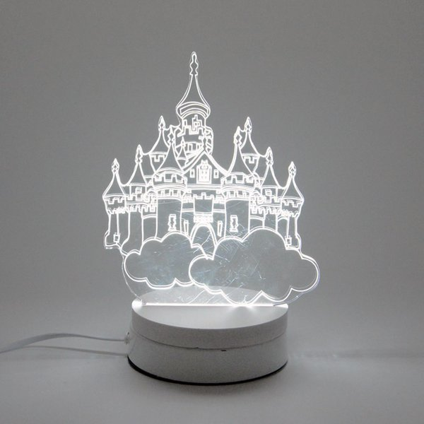 6W Castle LED Night Light AC220V Input DIY Table Lamp Laser Engraving Multi-Choice Pattern(3-Color/pcs) on Acrylic 3D Creative Light