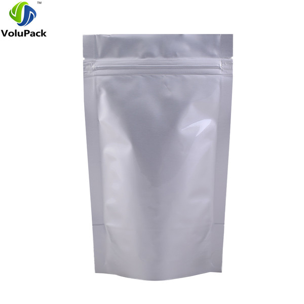 """12x20cm (4.75x7.75"""") pure aluminum foil Stand up pouch/ Self Seal mylar Zipper top food packaging bags for tea coffee powder"""