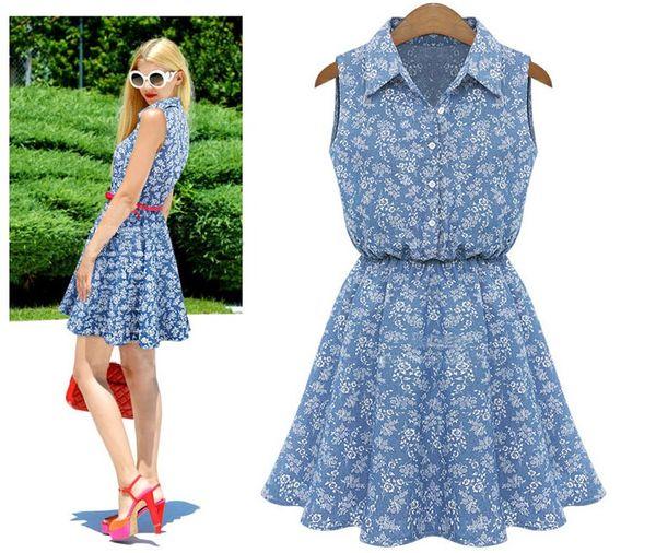 2016 Spring Summer Style Denim Dress Blue Floral Short Mini Dress Cute Women Jeans Vestidos Turn-Down Collar Brand Dresses