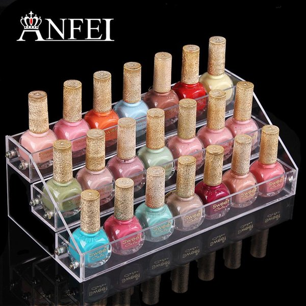 3 Layers Acrylic Nail Polish Display Stand Shelf Rack Makeup Organizer Boxes Cosmetics Storage Box Cosmetic Holder Organizer