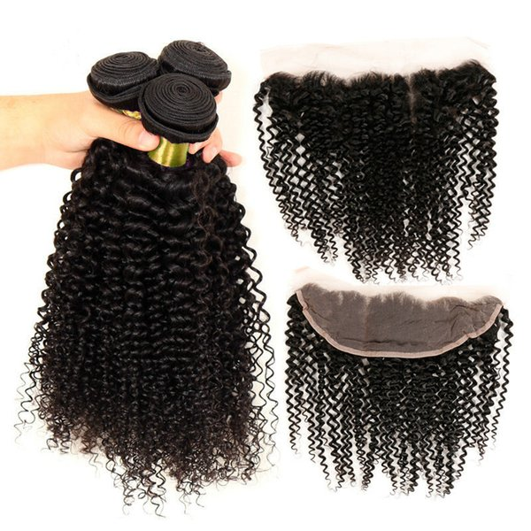 Free Parting Curly 13*4 Lace Frontal Closure With Brazilian Hair Weaves Deep Curly 3Pcs Brazilian Human Hair Bundles With Frontal 4Pcs/Lot