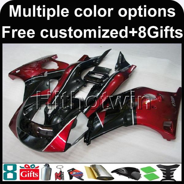 carénage moto rouge NOIR pour Yamaha FZR250 86-89 1986-1989 FZR 250 1986 1989 89-86 ABS Carénage plastique