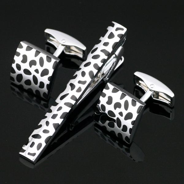 Stainless Steel Black Silver Luxury Cufflinks and Tie Clip Clasp Bar Set Gift For Men French Shirt High Quality Z-104