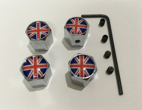 4pcs/set the union flag pattern Metal Anti-theft Style Car Wheel Tire Valves Tyre Dust Caps for all car
