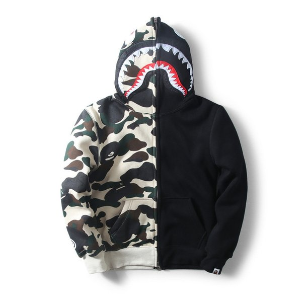 New Mens tide card shark mouth color cashmere sweater with camouflage Hoodie Hoody couples dress for men and women