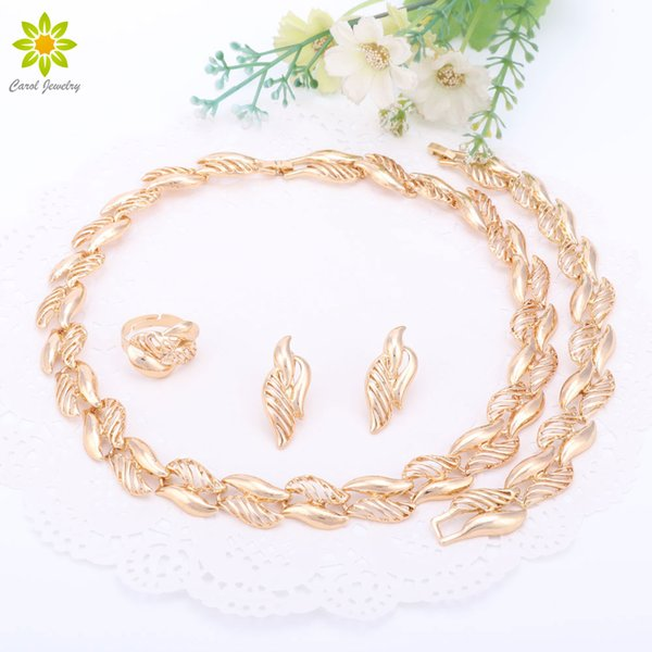 Fine Women Jewelry Sets Tree Leaf Necklace Earrings Ring Bracelet Party Gift Gold Plated Wedding Dress Accessories