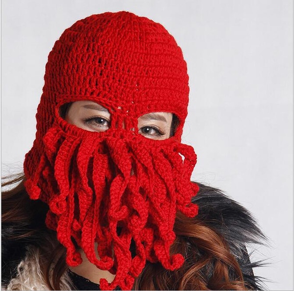 Cycling protective Knitting wool crochet hat fashion winter warm caps masks Party bar funny Octopus hat festival cosplay constume mask