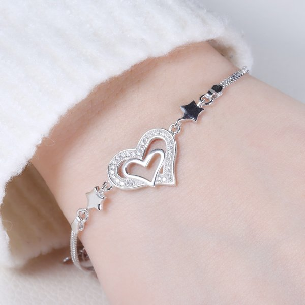 charm 925 sterling silver handmade heart and star shape bracelet hot sell jewelry rhodium plating products cubic zircon bangle