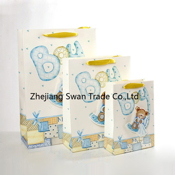 fashion children gift bags with custom color printing gift paper