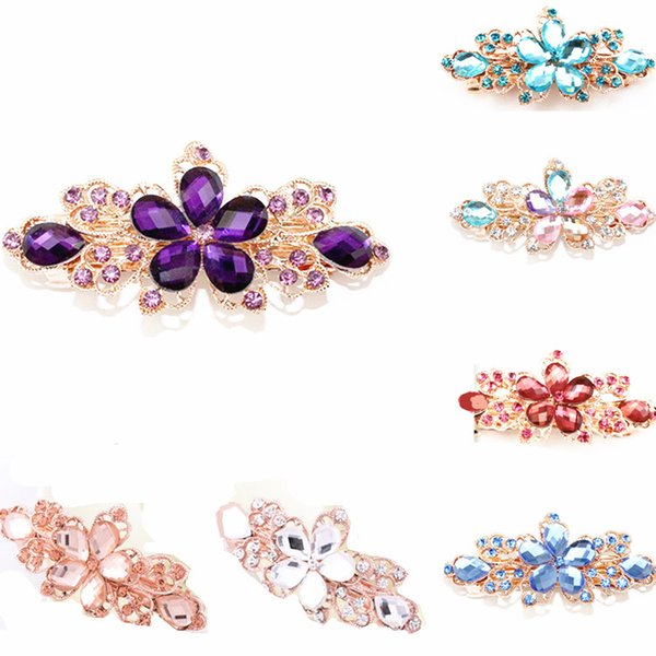 7 colors Crystal Flower Hairclips Bridal Wedding Hair Accessories Full Rhinestone Flower Hair Clips Barrettes Hair Jewelry for Women Girls