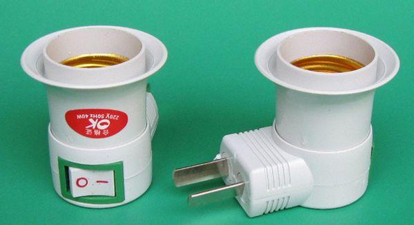 New Arrive Adjustment US/UK/AU plug AC Power 100-250v to E27 Bulbs Socket Adapter Night Halogen LED CFL Light / with On OFF Switch Via DHL