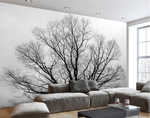 Custom Wallpaper Black & White Trees Trees Mural TV Background Wall Living  Room Bedroom Mural Wallpaper For Walls 3 D Free Wallpaper High Resolution  ...