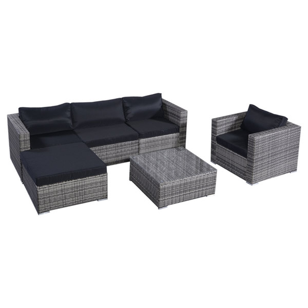 Marvelous 2019 Outdoor Wicker Furniture Set Sofas Ottoman With Cushions Gradient Gray Outdoor Pe Wicker Rattan Sofa Furniture Garden Patio Lawn Sofa From Uwap Interior Chair Design Uwaporg