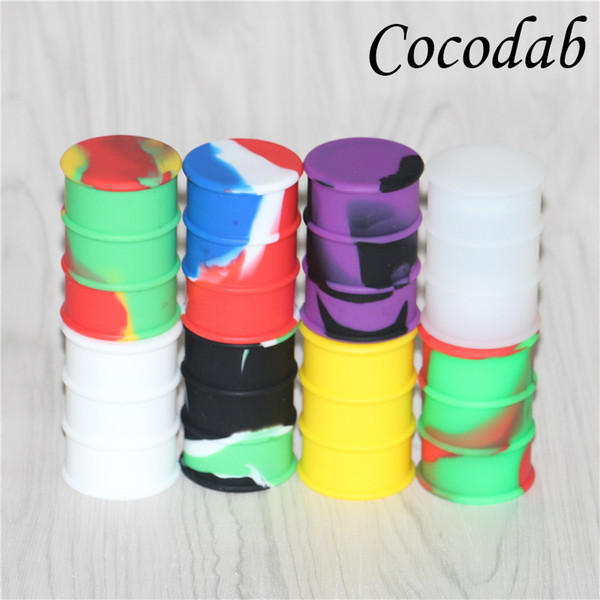 20pcs lot Silicone Oil Drum Barrel Containers 26ml Non-stick Concentrate Silicone Dab Container Wax Electronic Cigarette Accessories DHL