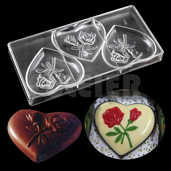 large heart shape baking mold polycarbonate chocolate moulds plastic fondant decor candy molds pastry cake chocolate making tool