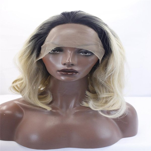 kabell Fashion wig lace front wigs Black root blonde hair with two shades of wavy hair Big wave hairstyle wigs African American fashion wig