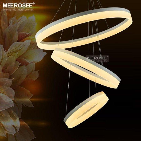 Moderne LED Ring Kronleuchter Acryl Lampe Licht Leuchte Fr Wohnzimmer Neue Singulre 3 Ringe Restaurant Hnge