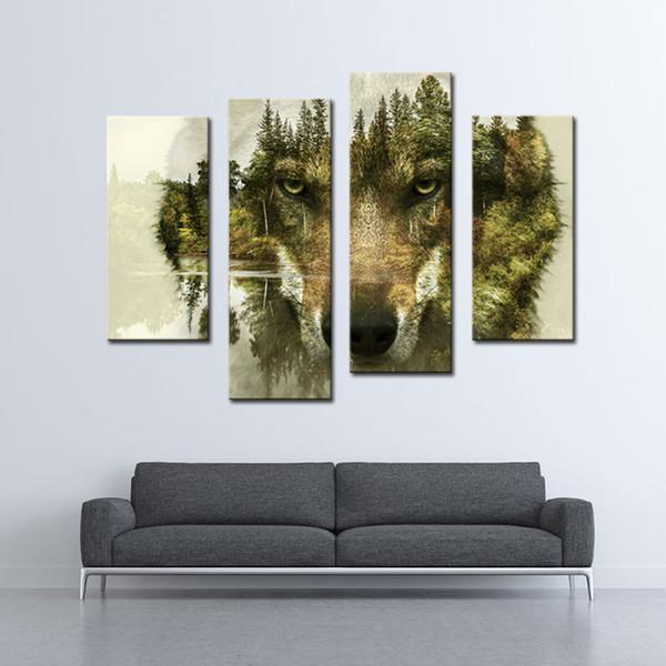 4 Picture Combination Modern Painting Wall Art L'immagine per la decorazione domestica Wolf Pine Trees Forest Water Animal Print On Canvas