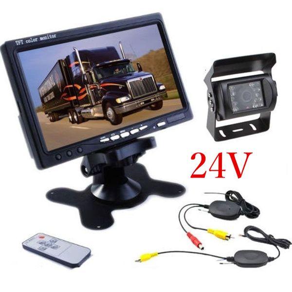 24V 차량용 후면보기 무선 백업 카메라 키트 + 트럭 용 7