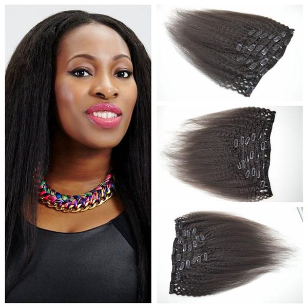 4a, 4b, 4c Clip In Haarverlängerung 12-26inch 7 teile / satz 120g verworrene Gerade Haar Clip Auf menschliches Haar Extensions G-EASY