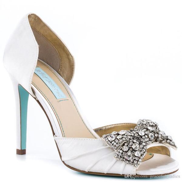 Zapatos de boda de satén blanco punta abierta Sandalias de mujer bombas a medida Slip-ons Rhinestone cubierta de arco talón Fiesta de noche Zapato de baile