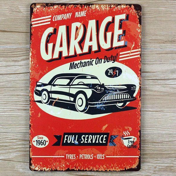 "Wholesale- wall pictures "" Garage Car here"" vintage metal signs House Cafe Restaurant Beer Poster for bar Metal Craft ART 20*30 CM"