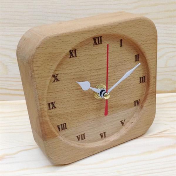 Hot Home Office Table Clock Pur bois de hêtre super-silencieux DIY créatif art horloge Réveil bureau à domicile Décoration pour cadeau livraison gratuite