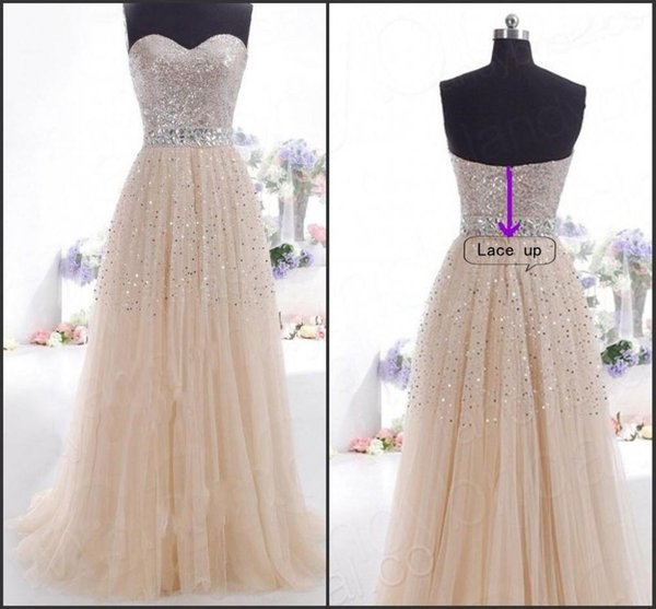 2019 Cheap Champagne Evening Dresses Sweetheart Sexy Backless Sequined Beaded Real Photo Lace Up Back Floor Length Long Party Prom Gowns