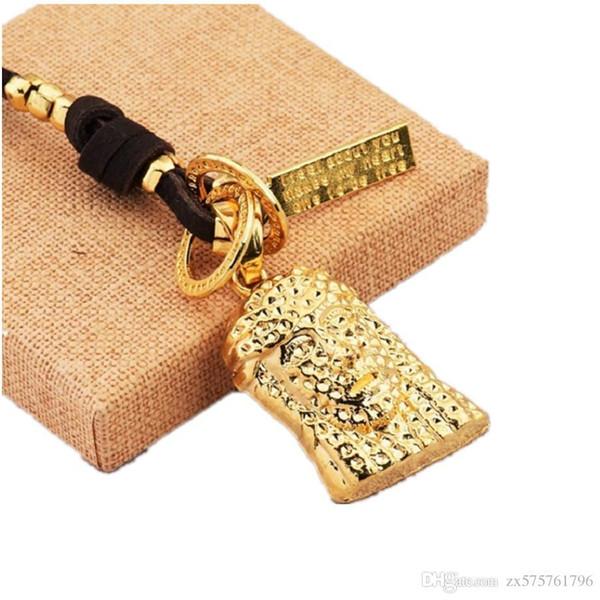 Mens Fashion Jewelr Necklace Jesus Piece Design Leather Rope Chain Adjustable 50cm to 70cm Size Men Hip Hop Jesus Pendant Necklaces for Men
