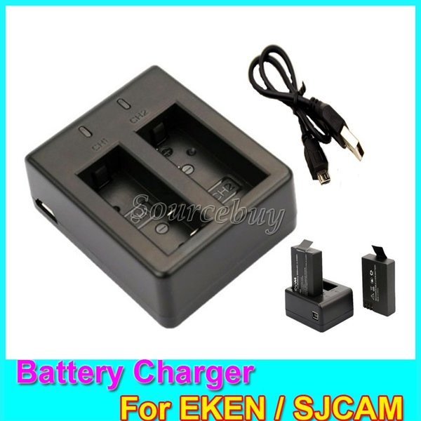 50pcs Free Shipping Battery Charger For SJCAM SJ4000 SJ5000 M10 Double Ports Mini USB Cable EKEN H9 Series Action Sports Cameras Accessories
