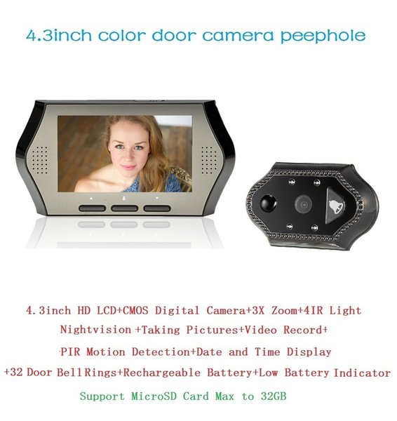 Hot videoglazok peephole 4.3inch LCD 0.3Megapixels camera IR night vision PIR Motion Detection 32Rings 3X Zoom video eye Max 32G