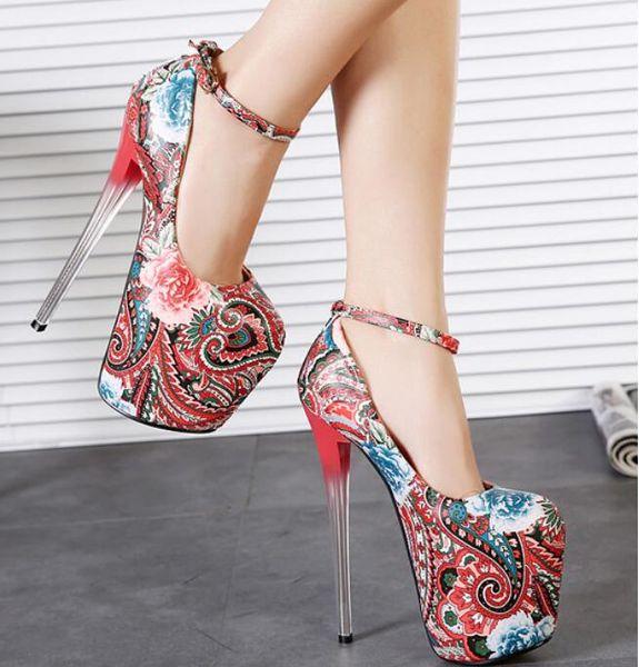 19 CM Topuk Yüksekliği Avrupa Amerika Popüler Stil 3 Renkler Tıknaz Topuklar Yüksek Topuklu Moda Elbise Ayakkabı bayan Rahat Ayakkabılar