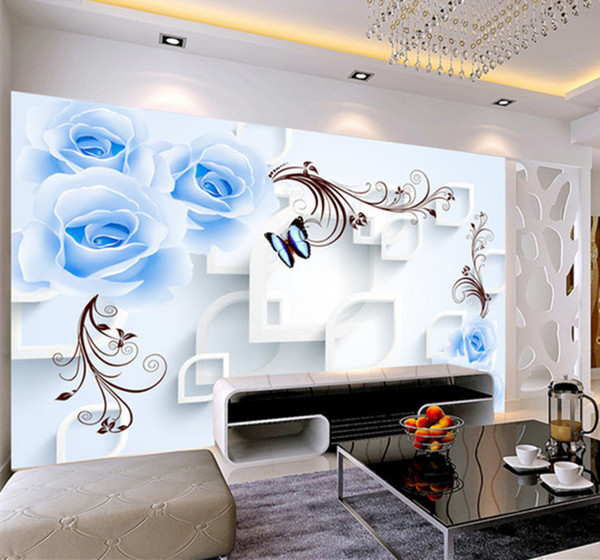 Blue Rose Floral Wallpaper 3d Wall Mural For Living Room Home Wall Art Decor Painting Wallcovering European 3d Flower Wallpapers Wallpapers Free