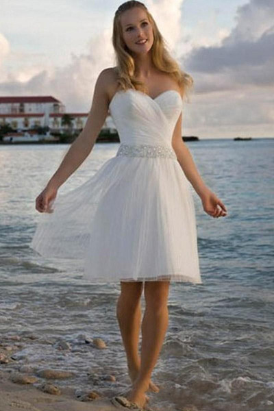 2018 New High Quality Sweetheart Rhinestone Tulle Short Casual Beach Wedding Dresses Bridal Gown Free Shipping 177