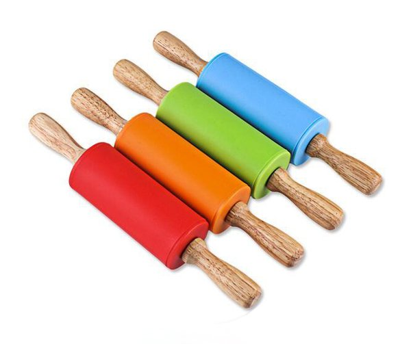 best selling 22.5*4.3CM Small Size Children Wooden Handle Pastry Baking Tool Dough Silicone Rolling Stick Children Toy Rolling Pin
