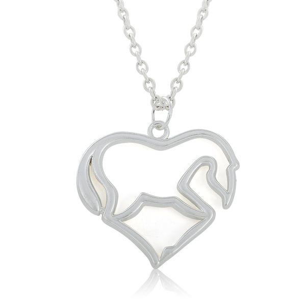 Fashion Cute I Love Heart Horse Pendant Necklaces Bright Silver Color Alloy Lady Necklaces 10pcs FN018