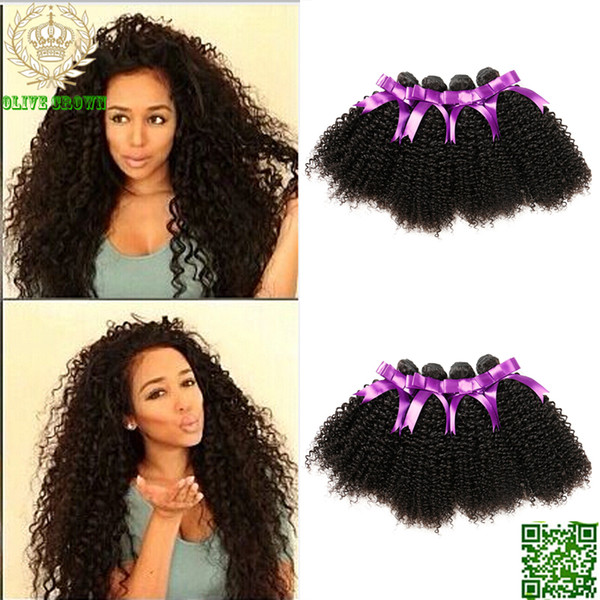 Virgin Brazilian Human Hair Kinky Curly Hair Weaves 4Bundles/Lot Extension Soft Remy Hair Weft Top Grade 6A Virgin Hair